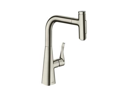 Смеситель Metris Select 240 2jet кухонный с вытяжным изливом (73822800) Stainless Steel Finish