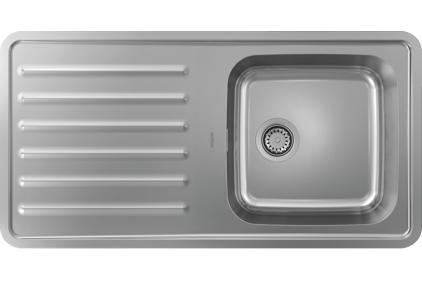 Кухонна мийка S4111-F400 на стільницю 975х505 з сифоном (43341800) Stainless Steel