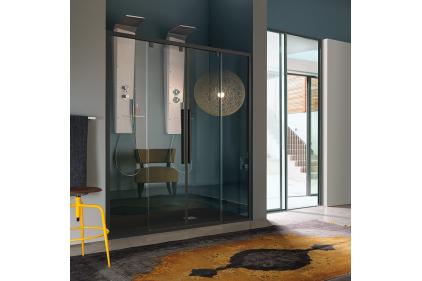 ACRUS двери в нишу 167 / 171х200 стекло прозрачное TR, профиль черный L96 (B8853L96TR)