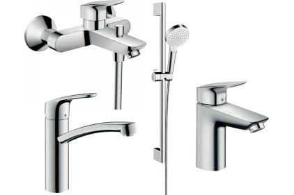 Набір змішувачів EcoSmart для ванни та кухні Logis/Focus 100 (71104+7140+31806+26534400) 20200012