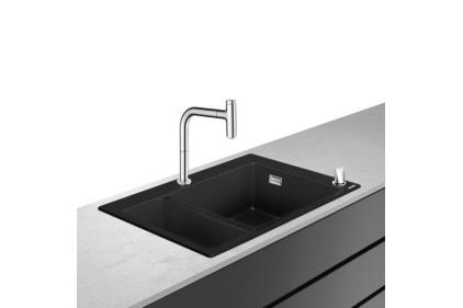 Кухонна мийка C51-F635-09 Сombi 770x510 на дві чаші 180/450 Select зі змішувачем Chrome (43220000)