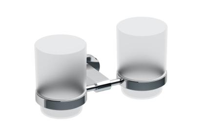 Держатель с двумя стаканами для зубных щеток (стекло) (CR 220) X07P189