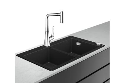 Кухонна мийка C51-F770-05 Сombi 880x510 370/370 Select зі змішувачем, chrome (43216000)