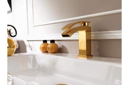 IMAGINE Смеситель для умывальника с автоматическим клапаном: керамический картридж Ø28 мм/без аэратора/цвет - золотой (100081813)