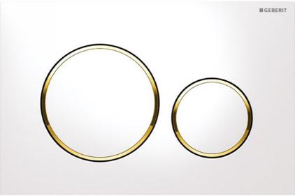 Кнопка смыва Sigma 20 белая / позолоченная / белая (115.882.KK.1)