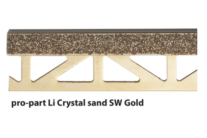 Декоративний профіль PRO-PART LI CRYSTAL SAND SW GOLD  (11 мм висота, 2500 мм довжина)
