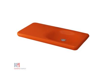 Умывальник FENICE 90 глянцевый оранжевый (1165-012-0125) без отверстия для смесителя