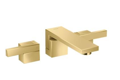 Змішувач Axor Edge 190 для раковини на 3 отвори зі стіни з push-open Polished Gold Optic 46060990