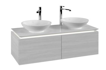 LEGATO Шафка під два умивальники 1200х380х500 колір White Wood + LED підсвітка (B140L0E8)
