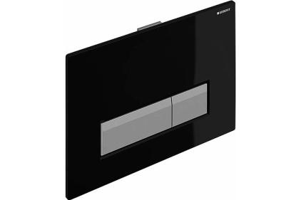 Кнопка смыва Sigma 40 с системой удаления запаха, стекло черное / алюминий (115.600.SJ.1)