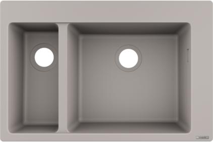 Кухонна мийка S510-F635 770х510 на дві чаші 180/450 Concretegrey (43315380)