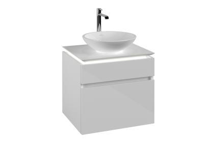 LEGATO Шафка під умивальник 600x550x500 колір Glossy White + LED підсвітка (B121L0DH)