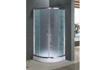 Кабіна душова півкругла 9001 T ECO 90х90х195: скло TATIANA/ піддон - 15 см/ профіль алюміній хромований