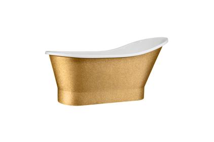 Ванна акрилова GLORIA GLAM золота 160х68 з сифоном клік-клак