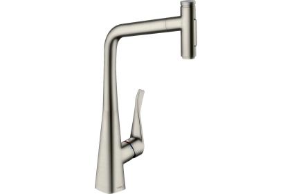 Смеситель Metris Select 320 2jet кухонный с вытяжным изливом Sbox (73816800) Stainless Steel