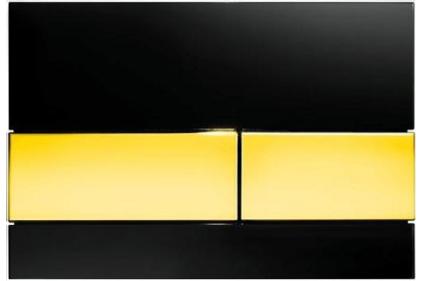 Панель смыва для унитаза TECEsquare: стекло черное, кнопки позолоченные (9240808)