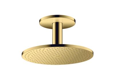 Верхний душ Axor 300 1jet P с держателем к потолку Polished Gold Optic (35301990)