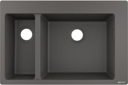 Кухонна мийка S510-F635 770х510 на дві чаші 180/450 Stonegrey (43315290)
