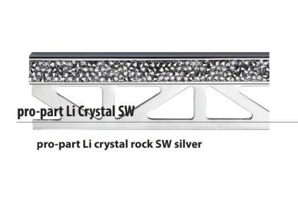 Декоративний профіль PRO-PART LI CRYSTAL ROCK SW SILVER (11 мм висота, 2500 мм довжина)