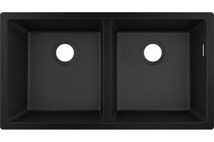 Кухонна мийка S510-U770  під стільницю 820х450 на дві чаші 370/370 Graphiteblack (43434170)
