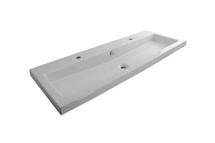 SQUARE Умивальник підвісний 120х45 см з переливом та кріпленням, білий (100090016)
