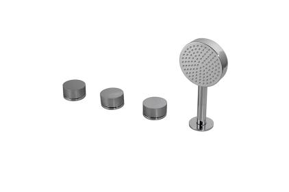 TONO Комплект змішувача на бортик ванни на 4 отвори (клапани, перемикач, ручний душ, тримач) (100190247)
