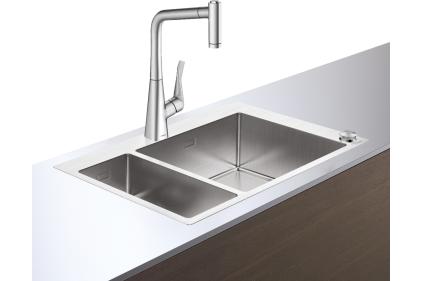 Кухонная мойка C71-F655-04 755х500 Сombi со смесителем на две чаши 180/450 (43210800) Stainless Steel