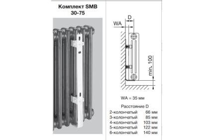 Комплект настінного кріплення 2 x SMB75 для Charleston H 680-1000 мм (173551) RAL9016