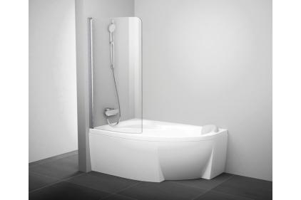 Шторка в ванную (160/170 см.) Транспарент левая полированная алюминиевая CVSK1-160 / 170L