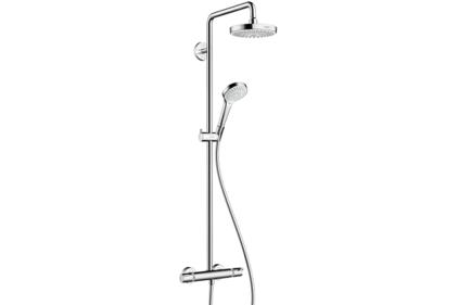 Душевая система Croma S Showerpipe Select 180 2jet Showerpipe с термостатом белый хромированный (27253400)