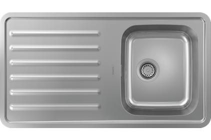 Кухонна мийка S4111-F340 на стільницю 915х505 з сифоном (43340800) Stainless Steel