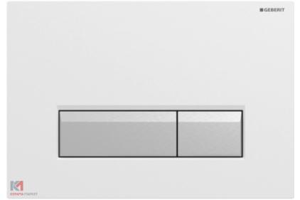 Кнопка змиву Sigma 40 із системою видалення запаху: скло біле/матовий алюміній (115.600.SI.1)