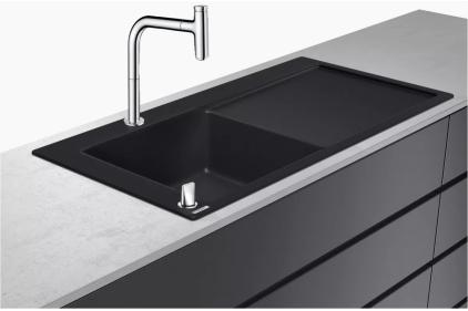 Кухонна мийка C51-F450-12 Сombi 1050x510 полиця ліворуч зі змішувачем Select. Chrome (43228000)