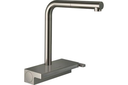 Змішувач Aquno Select 250 2jet кухонний з витяжним виливом Sbox (73830800) Stainless Steel